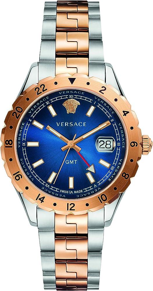 Versace hellenyium gmt mens watch, orologio da uomo, in acciaio inossidabile bicolore V11060017