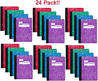 Mead 09918 Composition Book, 100 sheets, wide ruled, assorted colors - 24 pack