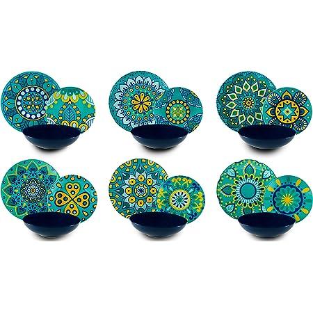 Excelsa Mandala Méditerranée Service Assiettes 18Pièces, Porcelaine et céramique, multicolore