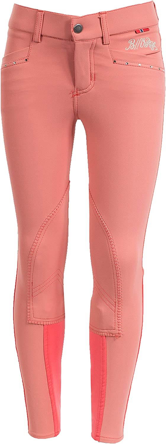 B greenigo Oliva Fancy Girl's Breeches Deep Coral Pink M