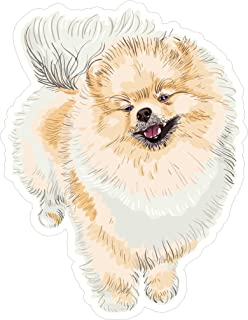 Dog Pomeranian 5x5.4 inches man's best friend puppy animal america united states murica color sticker state decal die cut vinyl - Made and Shipped in USA