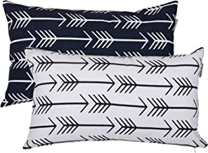 ACCENTHOME Accent Home Printed Cotton Cushion Cover,Throw Pillow Case, Slipover Pillowslip for Home Sofa Couch Chair Back Seat,2pc Pack 12x20 Arrow Design in Navy Color