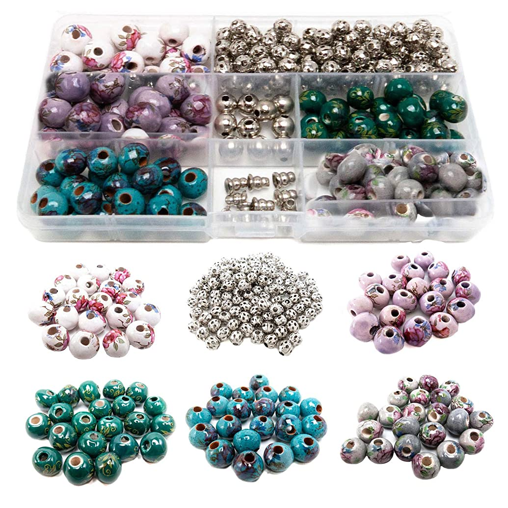 100 PCs Porcelain Bead Assortment & 120 Filigree Silver Beads Container Kit with Elastic Cord and Free Necklace Jewelry Making Finding Supplies for Adults - Great for Bracelets, Necklaces, Crafts (6)