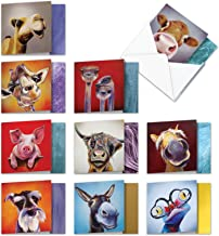 10 Boxed 'Animal Magnetism' Assorted Blank Notes Cards with Envelopes 4 x 5.12 inch - Funny 'square-Top' All Occasion Greetings w/Dog, Cow, Horse - Colorful Bulk Stationery AMQ6218OCB-B1x10