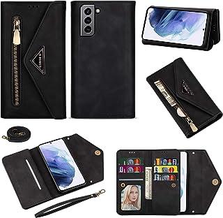 N.BEKUS Flip Wallet Case Compatible with Samsung Galaxy S21 Premium PU Leather Zipper Magnetic Closure Kickstand Shoulderb...