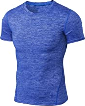 Landwalker Men's Short-Sleeve Workout Cool Dry Sports Tight Compression Shirt
