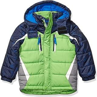 London Fog Boys' Big Active Puffer Jacket Winter Coat, Green Solid Hood, 14/16