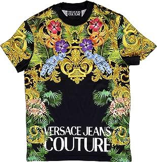 Versace Jeans Couture Black 100% Cotton Baroque Print Short Sleeve Knit T-Shirt- for Mens