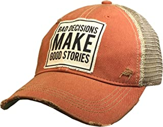 VINTAGE LIFE Distressed Washed Fun Baseball Trucker Mesh Cap (Bad Decisions Make Good Stories (Orange))