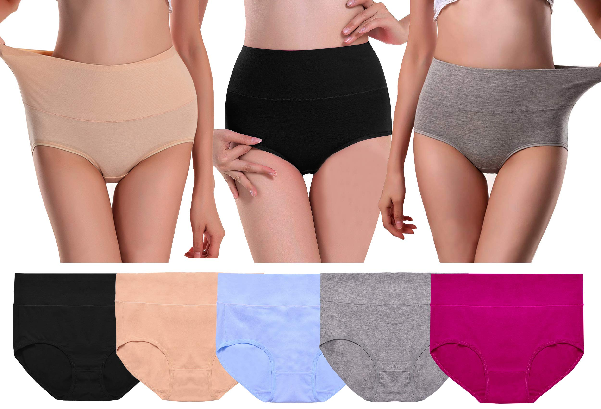 UMMISS Womens Cotton Underwear High Waist Full Coverage Soft Comfortable Brief Panty Multipack