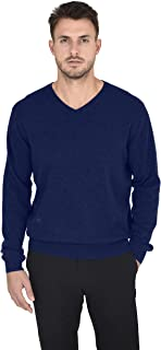 Cashmeren Men's Essentials Knit V-Neck Sweater Cashmere Wool Long Sleeve Classic Pullover