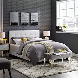 Modway Amira Tufted Fabric Upholstered Queen Bed Frame With Headboard In White