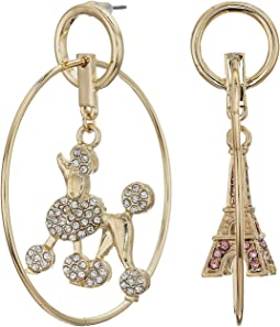 Gold Tone Hoop Earrings with Poodle and Eiffel Tower Charm