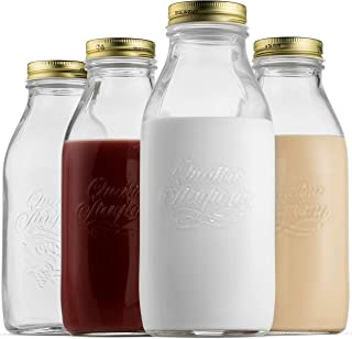Bormioli Rocco Quattro Stagioni Glass Milk Bottle 33.75 Ounce/1 Liter with Airtight Lid, Great For Kombucha Brewing Bottle, Beer, Homemade Juicing, Smoothies, Beverages, Durable Construction. (4 Pack)