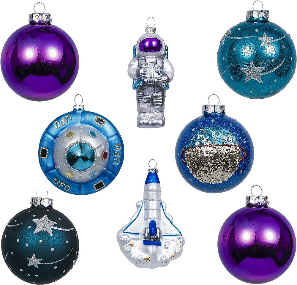 Valery madelyn palle di natale vetro set, 8 pezzi EG0107-0072