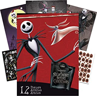 The Nightmare Before Christmas Poster Book Super Set ~ 12 Posters Featuring Jack and Sally, Zero, Oogie Boogie, and More with Bonus Stickers (Nightmare Before Christmas Room Decor)