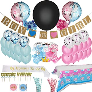 Newly Revised | Over 148 Pieces | Gender Reveal Party Supplies | Gender Reveal Party Decorations | Reveal Gender Party Supplies | Gender Reveal Supply | Stylish Decoration | Fun | Safe | Disposable | Blue Color | Pink Color | Generous Quantities | Gender Reveal Pack | Reveal Tablecloth | Pink/Blue Paper Straws