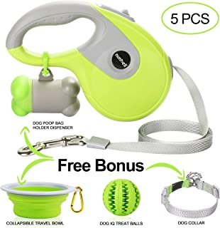 Nunbell Retractable Dog Leash| 5 Pack Set & Dual Dog Leash| Strong & Durable Nylon Tape| 5 Pack Set with Bag Dispenser+Bonus Bowl+Collar+Ribbon+IQ Balls| Dual Dog Leash with Bag Dispenser+LED Light