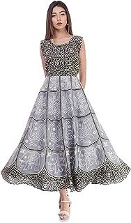 6TH AVENUE STREETWEAR Women's Cotton Dress (Free Size, Black and White)