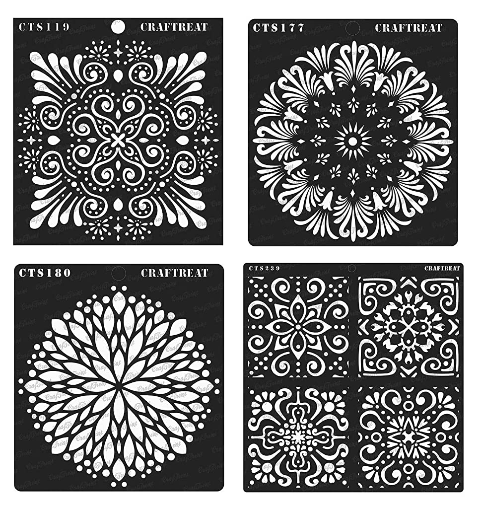 CrafTreat Stencil - Ornate Background, Tuberose Doily, Flower Burst & Floral Tile (4 pcs) | Reusable Painting Template for Home Decor, Crafting, DIY Albums and Printing on Paper, Wall, Fabric 6