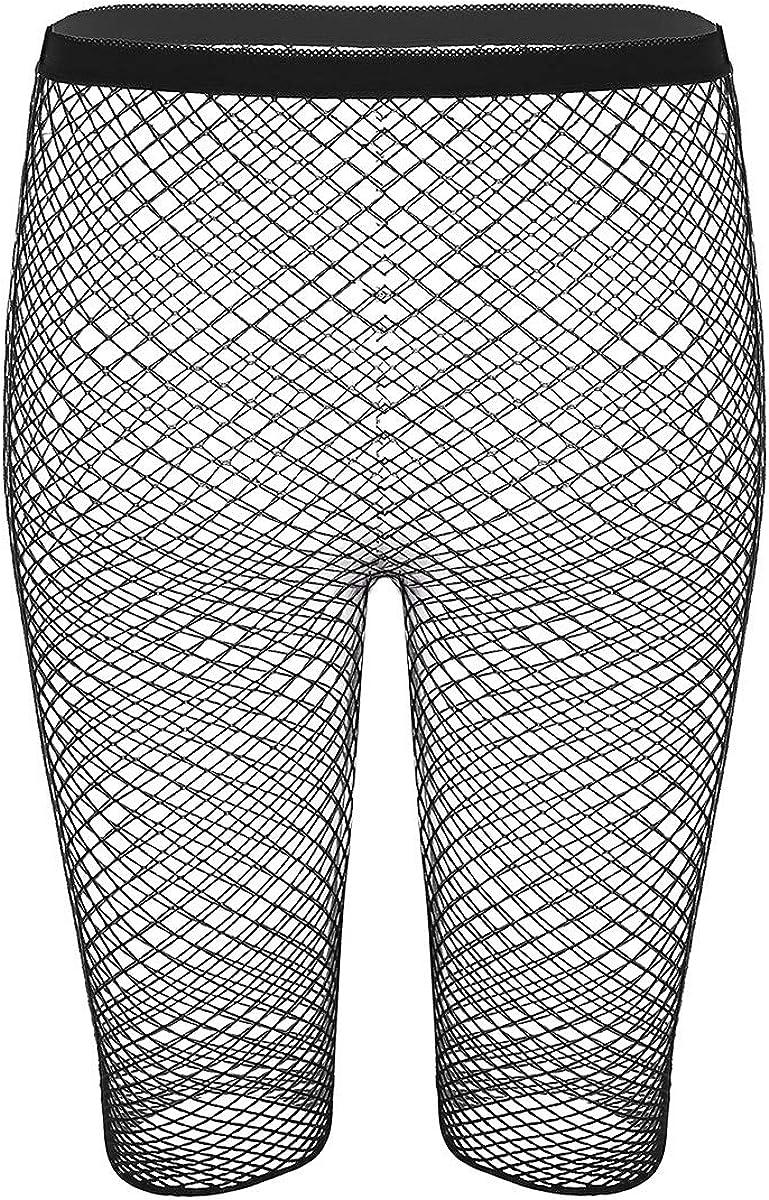 Kaerm Womens Fishnet Mesh See Through High Waist Tights Stockings Half Pants Nightwear