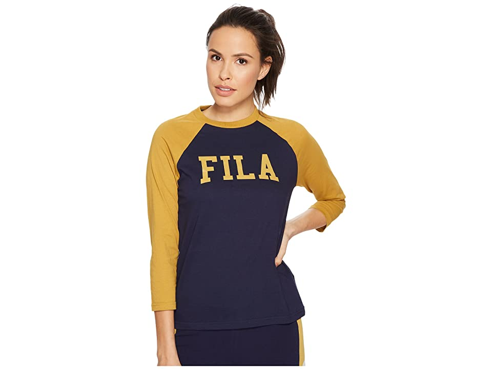 Fila Tammy Raglan T-Shirt (Navy/Metallic Gold) Women