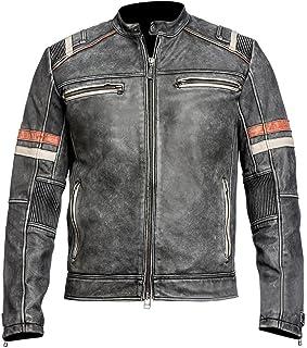 Mens Retro Cafe Racer Vintage Biker Distressed Black Motorcycle Leather Jacket