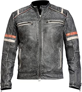 III-Fashions Cafe Racer Retro Vintage Motorcycle Distressed Black Biker Leather Jacket
