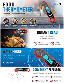Kizen Instant Read Meat Thermometer - Best Waterproof Ultra Fast Thermometer with Backlight & Calibration. Kizen Digi...