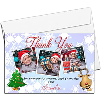 Personalised Christmas Xmas Thank You Photo Post Cards Notes N32 for Kids Girls & Boys ~ Pack of 10