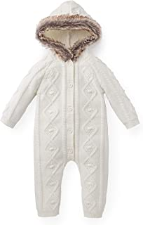 Hope & Henry Layette Faux Fur Trim Cable Knit Sweater Romper