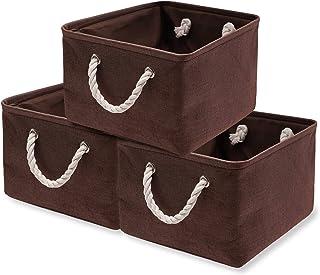 dudu@home 収納バスケット 収納かご ファブリック収納ボックス 洗濯かご 雑貨収納 玄関収納 インテリア雑貨 折り畳み式 3個セット(40x30x21) (ブラウン)