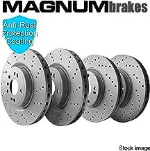 Front & Rear MagnumBrakes Cross Drilled Brake Rotors for 2010-2016 Hyundai Genesis Coupe 2.0T R-Spec 4 Piston Brembo Caliper