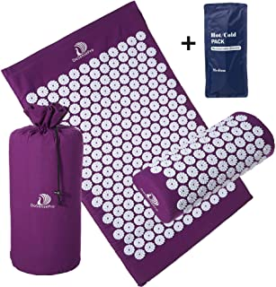 Large Acupressure Mat and Pillow Massage Set - by DoSensePro + Bonus Hot/Cold Gel Pack. Acupuncture Floor Pad with Pouch Tote Bag. Relieve Sciatic, Back, Neck, Headaches and Pain at Pressure Points.
