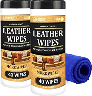 JJ CARE Leather Wipes for Car Seats [Pack of 80] Leather Cleaning Wipes + Free Microfiber Cloth, Leather Wipes for Couch, Car Interior, Furniture, Shoes and Purses Cleaner