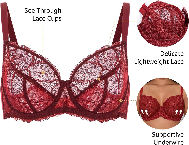 DOBREVA Women's See Through Unlined Lace Bra Underwire Plus Size Minimizer Full Coverage