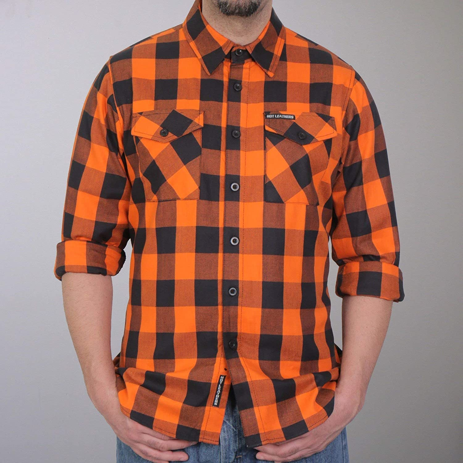 Hot Leathers FLM2007 Mens Orange and Black Long Sleeve Flannel Shirt