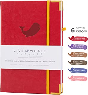 Live Whale, Weekly Planner, Monthly Planner, Hourly Planner - Hand Crafted to Increase Productivity, Track Goals and Achieve Well Being. (Red)