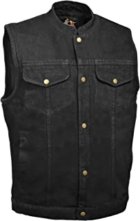 Men's SOA Anarchy Style Denim Vest w/ One Inside Concealed Weapon Gun Pockets (Large, Black Denim)