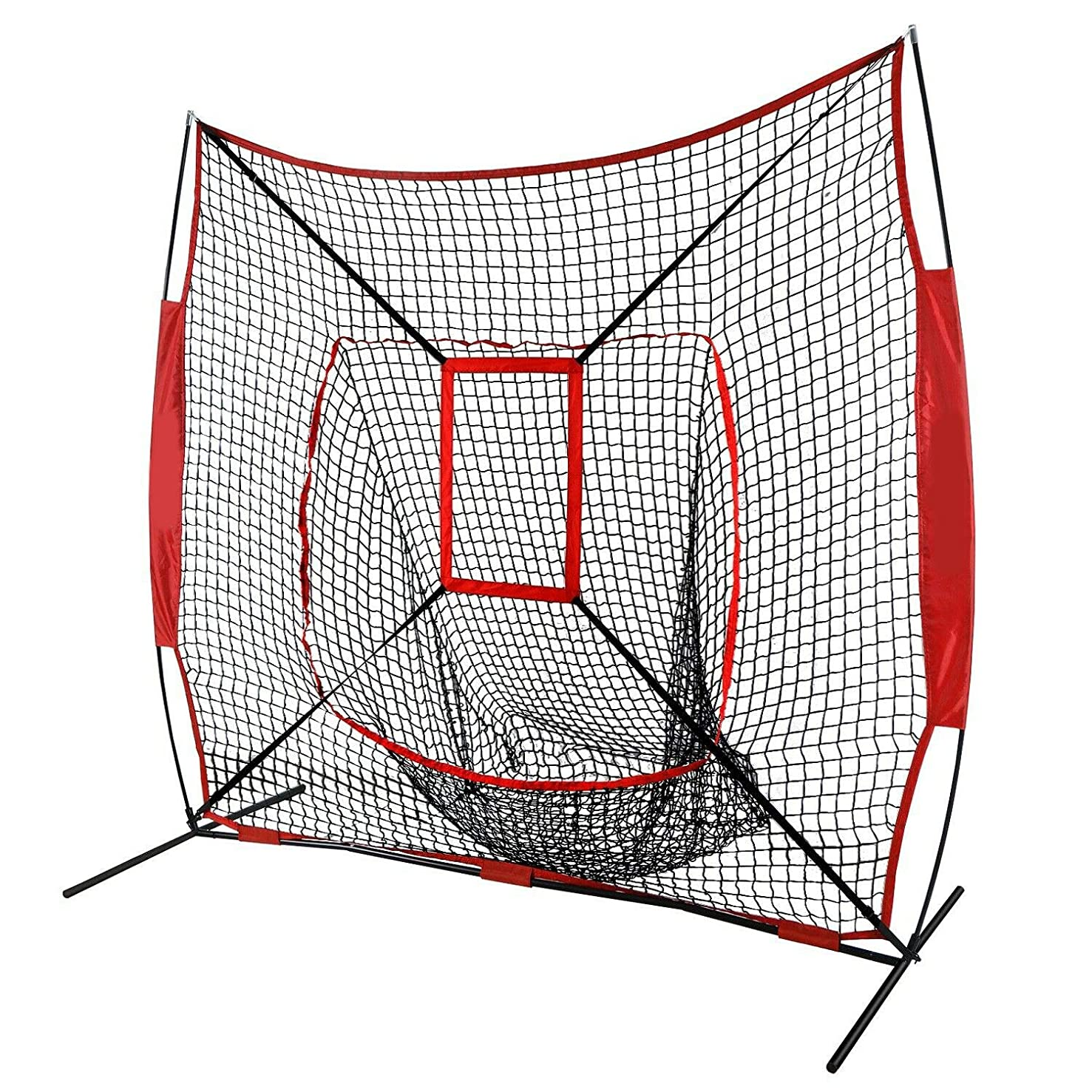 7'×7' Baseball Softball Practice Net Hit Cage Frame Strike Zone Area Carry Bring Bag Sporting Goods Team Sports Training Aid Batting Cages Netting Beat Whack Smack Practice Practise Disciplining Gauze