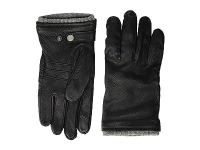 Polo Ralph Lauren Deerskin Gloves with Knit Cuff (Black) Over-Mits Gloves