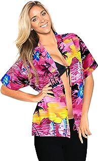 LA LEELA Hawaiian Beachwear Abito Camicia Maniche Corte Pulsante Camicia gi? 1896 m Pink Ladies