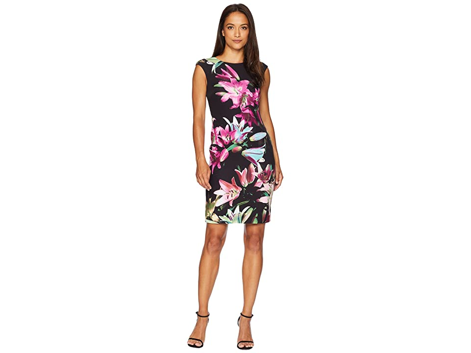 Tahari by ASL Petite Printed Scuba Sheath Dress (Black/Dahlia/Aqua) Women