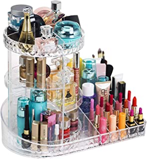 Rotating Makeup Organizer Station Nail Bar, 360 Degree Rotating Adjustable Carousel with Large Tray Box for Lipsticks Cosm...