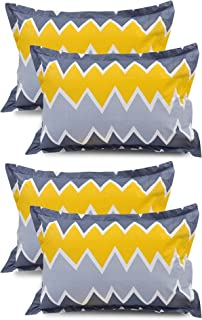 VAS COLLECTIONS® 105 TC 100% Cotton King Size Pillow Cover Combo-20X30 Inches,Set of 4 (Blue & Yellow )