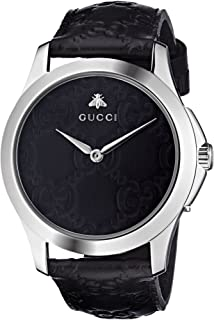 14fc30cd4a6 Gucci Quartz Stainless Steel and Leather Casual Black Watch (Model   YA1264031)
