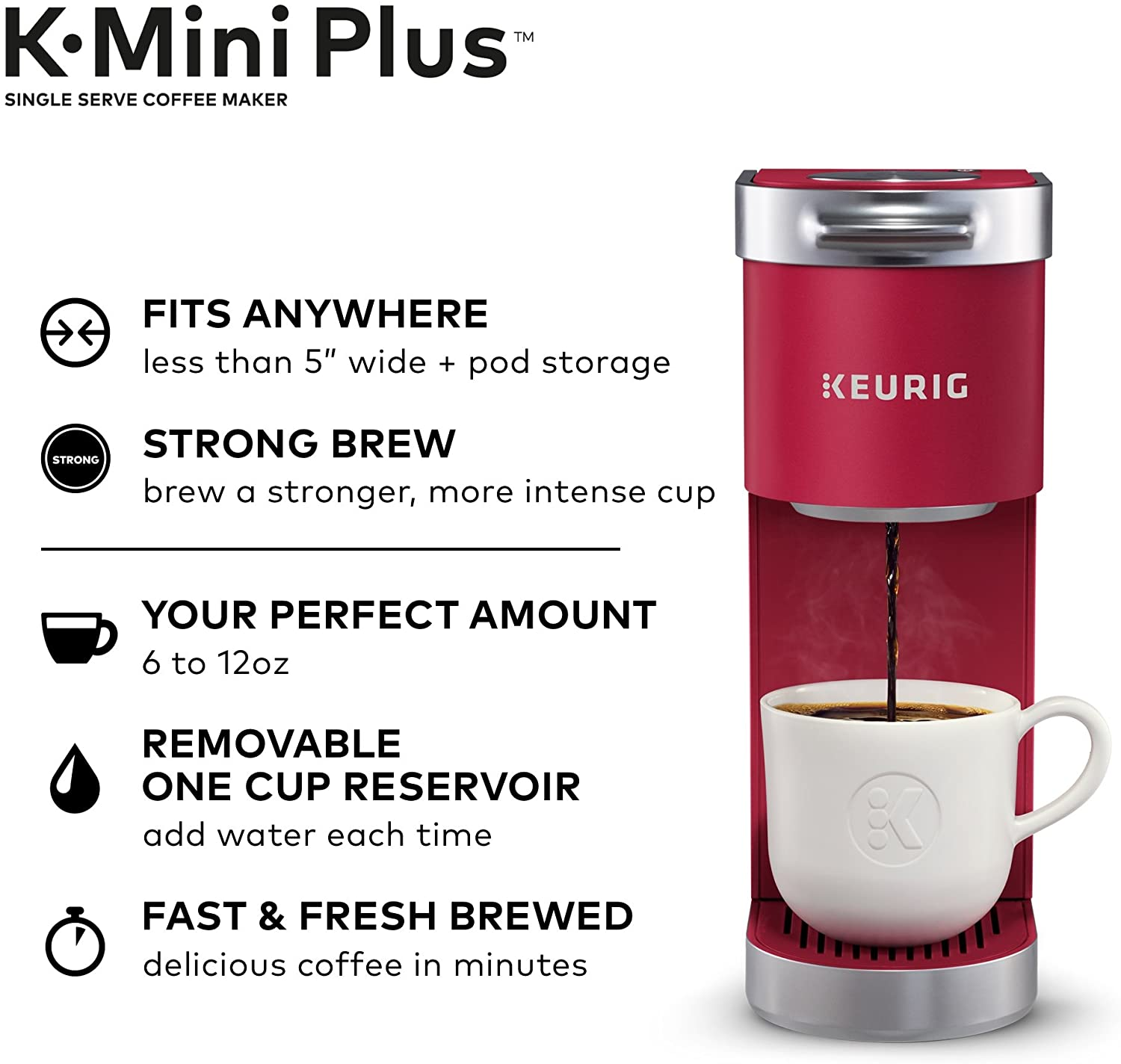 Keurig K-Mini Plus Maker Single Serve K-Cup Pod Coffee Brewer, Comes with 6 to 12 Oz. Brew Size, Storage, and Travel Mug Friendly, Cardinal Red
