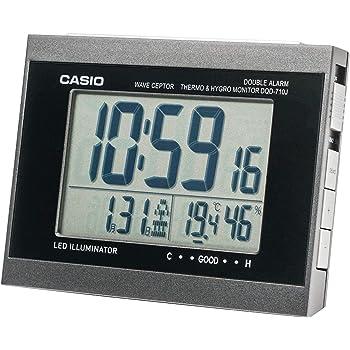 CASIO(カシオ) 目覚まし時計 電波 デジタル ダブルアラーム 温度 湿度 カレンダー 表示 ブラック DQD-710J-1JF