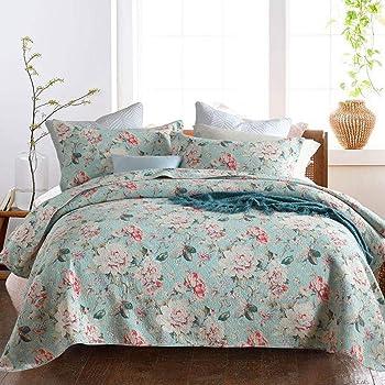 Topmail Set da 3pz Copriletto Trapuntato Matrimoniale 230x250cm con 2 Federe 50x70cm, in 100% Cotone, Bed Cover Double Face Motivo a Fiori, Multicolore