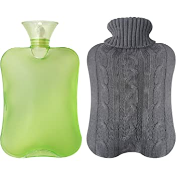 Attmu Classic Rubber Transparent Hot Water Bottle 2 Liter with Knit Cover - Green